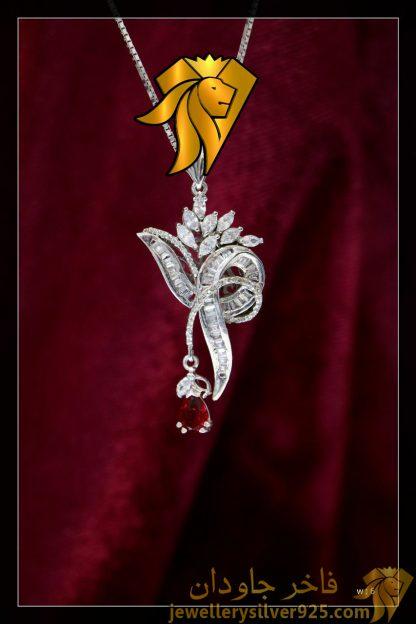 مدال جواهری تک دست ساز نقره روکش طلا وزن 6 گرم
