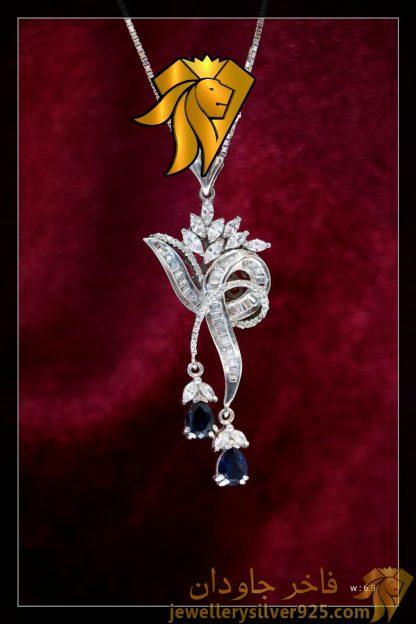 مدال جواهری تک دست ساز نقره روکش طلا وزن 6/9 گرم