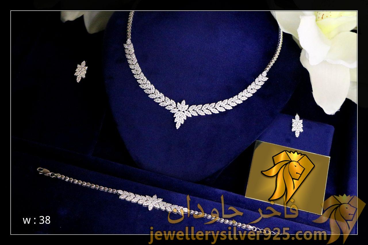 سرویس جواهر برگی نقره روکش طلا سفید