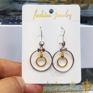 گوشواره حلقه ای طرح طلا دو رنگ مدل fashion jewelry