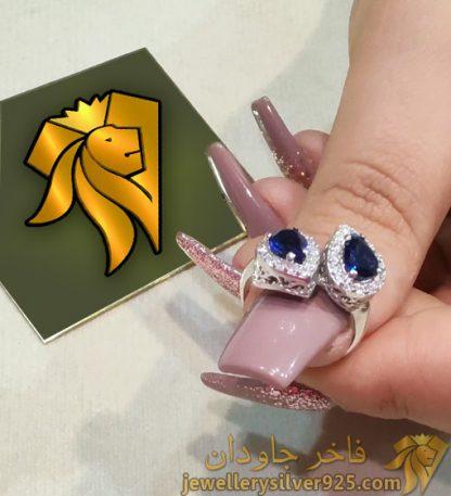 انگشتر جواهر دو اشک نقره روکش طلا نگین اتریشی