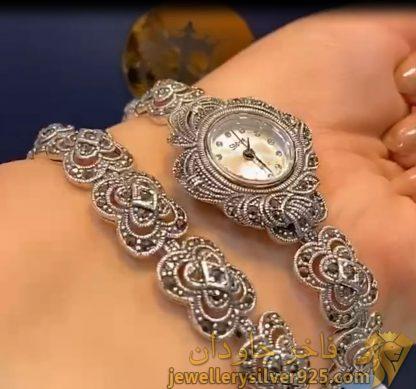 ست دستبند و ساعت نقره مارک سما وزن حدودی 57 گرم