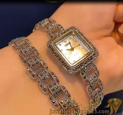 ست دستبند و ساعت نقره مارک سما وزن کامل 54 گرم