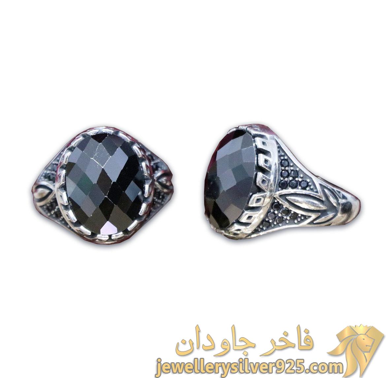 انگشتر مردانه نگین اونیکس الماس تراش
