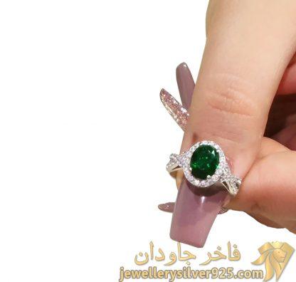 انگشتر زمرد طرح جواهر زنانه تصویر سوم