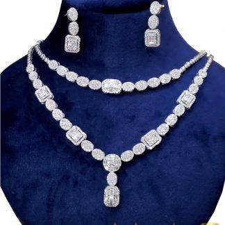 سرویس جواهر نقره روکش طلا سفید وزن 40 گرم
