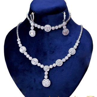 سرویس جواهرات نقره روکش طلا سفید وزن 36 گرم