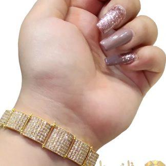 دستبند کونیک جواهری طرح الماسی
