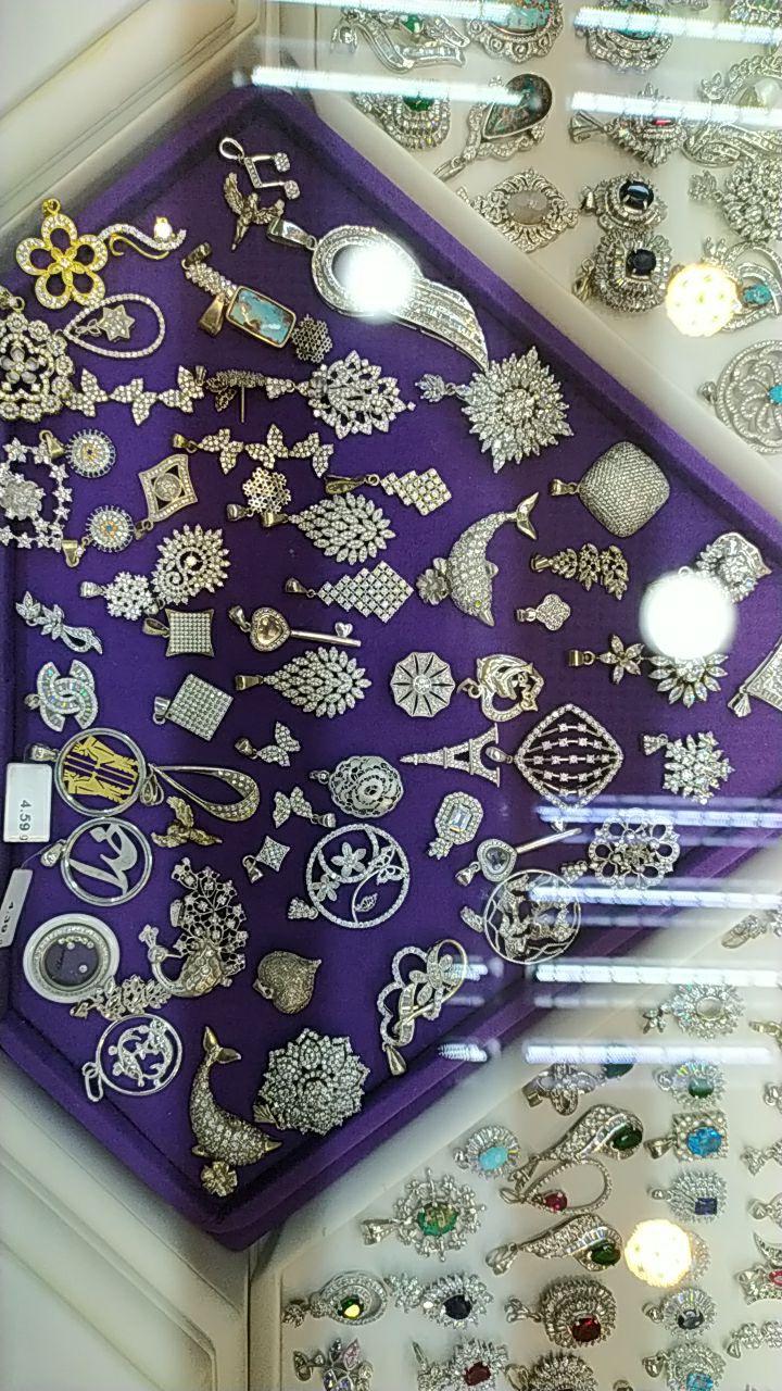 آویز نقره جواهری روکش طلا سفید