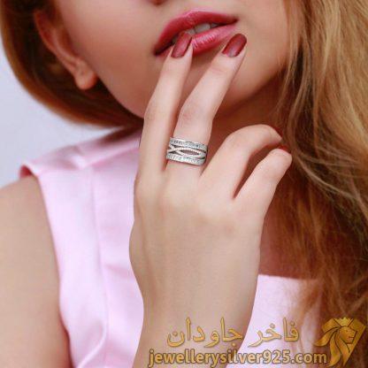 انگشتر خارجی جواهری نقره روکش طلای سفید
