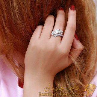انگشتر خارجی نقره استرلینگ روکش طلا سفید