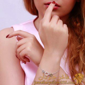 دستبند جواهر نقره روکش طلا سفید طرح سه حلقه