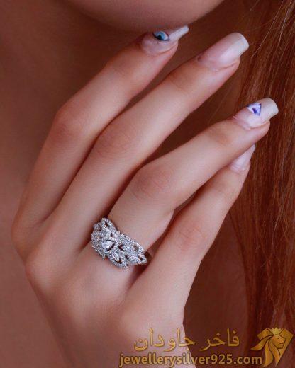 انگشتر جواهر زنانه لوکس طرح برگ