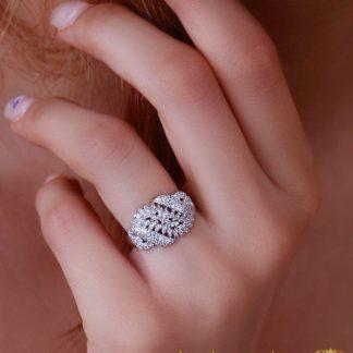 انگشتر جواهر لوکس زنانه طرح ریز برگ