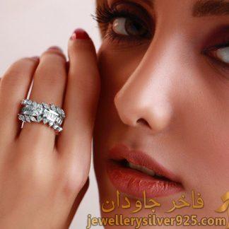 انگشتر نقره زنانه طرح برگ روکش طلا سفید