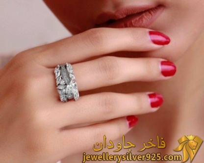 انگشتر لوکس زنانه نقره روکش طلا