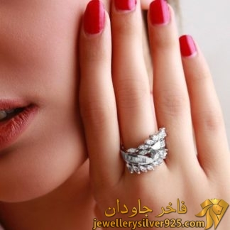 انگشتر زنانه لوکس خارجی نقره نگین تراش