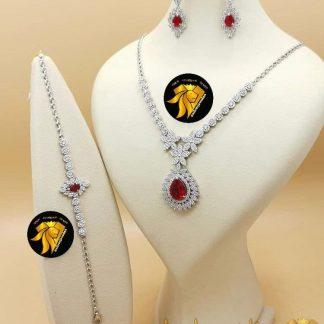 سرویس یاقوت سرخ نقره روکش طلا سفید مدل گل