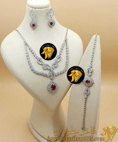 سرویس یاقوت سرخ نقره 925 عیار روکش طلا کد 536