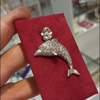پلاک دلفین نقره روکش طلا سفید